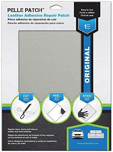 Pelle Patch - Pièce adhésive de réparation de Cuir et Vinyle - 25 Couleurs Disponibles - Original 20cm x 28cm - Gris Clair