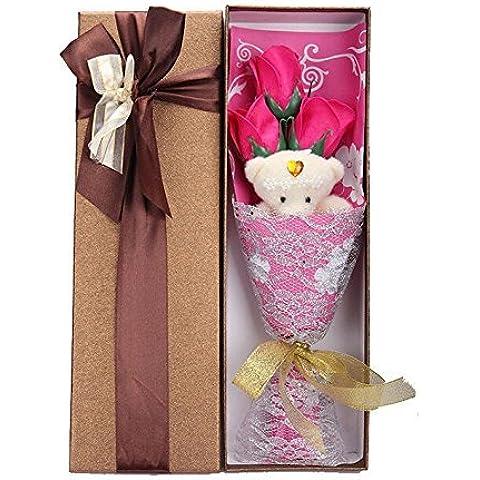DAYAN 3pcs Bagno ai fiori Corpo + Orso Sapone Rose Wedding regali della decorazione del regalo di giorno di colore Rose Red di San Valentino