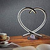 LED Herz Tischleuchte Valor in chrom | Edle Tischlampe in Herz-Form für Wohnzimmer, Nachttischlampe für Schlafzimmer, Flur, Küche, Kinderzimmer | Armor, Valentinstagsgeschenk, Love, Deko | 12