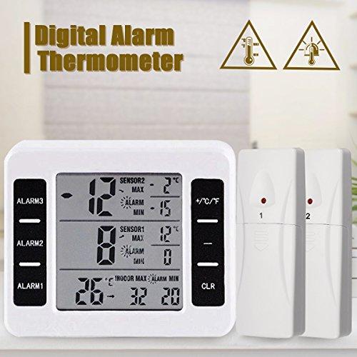 [Upgrade 2018] Digitaler Thermometer, GLISTENY Kühlschrankthermometer, Innen und Außen Thermometer, mit 2 Drahtloser Sensor,Temperaturalarm, LCD Display °C/°F, MAX/MIX Aufzeichnungen, für Zuhause | Kühlschrank | Büro
