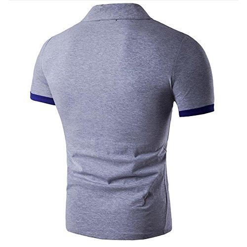 Männer in Europa und Amerika schlugen die Farbe Schlanke Revers Baumwolle Polo Kurzarm-T-Shirt Slim-Stitching Light Grey