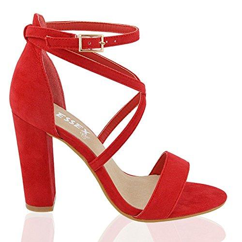 ESSEX GLAM Sandalo Donna Cinturino alla Caviglia Tacco a Blocco Fibbia Festa Rosso Finto Scamosciato