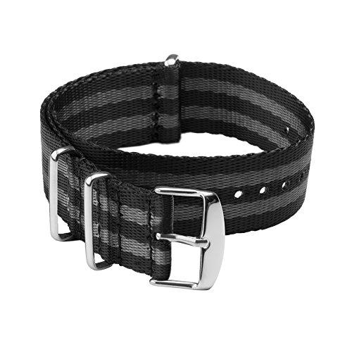 Archer Watch Straps Sicherheitsgurt Stil Gewebtes Nylon NATO Uhrenarmband - Schwarz und Grau (James Bond)/Edelstahl Hardware, 20mm