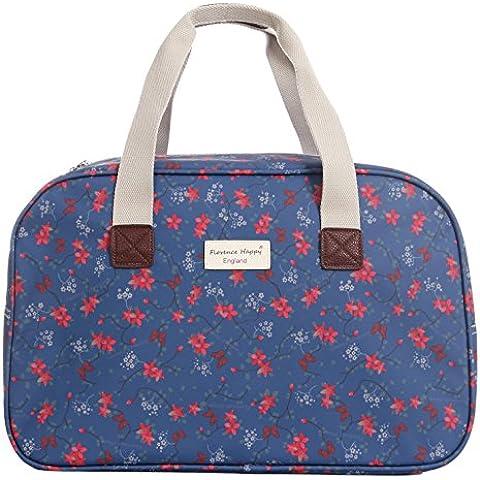 In tela cerata vacanza da viaggio villeggiatura borsa motivo floreale gufo con stampa