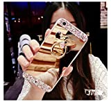 COTDINFOR Samsung Galaxy S6 Case Mirror Makeup Case For Girls Luxury Slim Standing Cover Bright Bling Crystal Diamond Glitter Mirror Case TPU for Samsung Galaxy S6 Bear Ring Mirror Gold