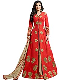 Ethnic Wings Women Banglory Silk Anarkali Semi-Stitched Salwar Suit (EW& ET_ER10767_Red_Free Size)