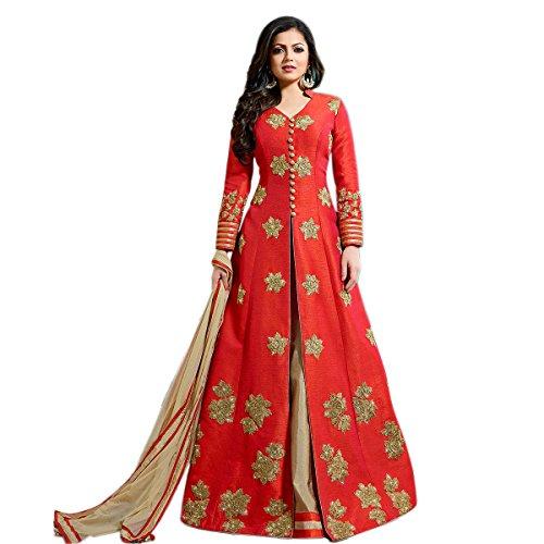 Ethnic Empire Women's Fantom Dress Material Salwar Suit Set (Eeas_Ea10767_Red_Free Size)