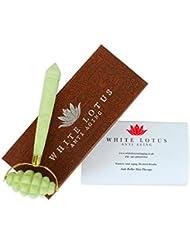 White Lotus ROLLER MASSAGE INTENSIF EN JADE Rouleau pour le visage conçu pour créer une forte stimulation + améliorer flux sanguin vers la peau + optimiser santé & beauté