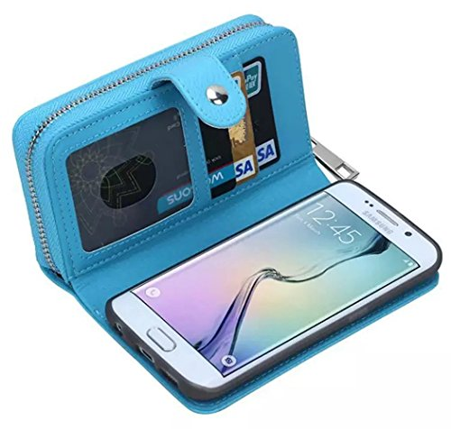 Vandot Coque Samsung Galaxy Grand Prime G530 Etui Samsung Galaxy Grand Prime G530 Case Samsung Galaxy Grand Prime G530 Housse iPhone SE PU Cuir Coque Samsung Galaxy Grand Prime G530 Flip Etui Motif Pa zipper Bleu