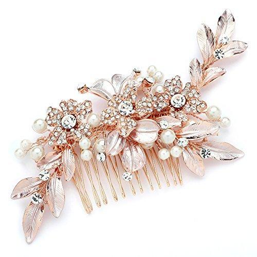 Mariell Rose Gold Designer Brautschmuck Haarschmuck Haarkamm Hochzeit Kopfbedeckung-handgemaltes Blätter, Kristallen und Perlen