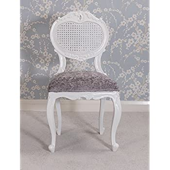 Louis XV Renee Bedroom Chair - Crushed Silver Velvet and French White rattan