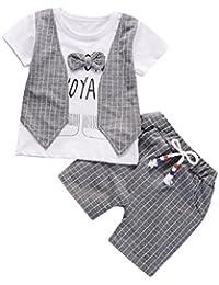 WYXlink 2Pcs Infant Baby Boys Letter Print Bow Plaid Fake Two-Piece Tops+Pants Outfits Clothes Set
