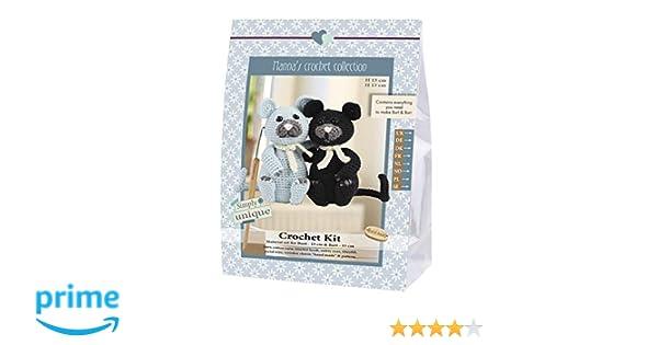 16 x 7 x 22 cm 1 H/äkel-Set Burt und Bart H/äkelset Go Handmade Cats schwarz//grau Baumwolle