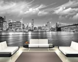 Selbstklebende Fototapete - New York VI - schwarz Weiss - 310x200 cm - Tapete mit Kleber – Wandtapete – Poster – Dekoration – Wandbild – Wandposter – Wand – Fotofolie – Bild – Wandbilder - Wanddeko