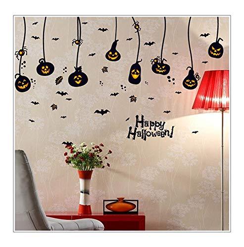 Qtzjylw decorazione della parete di casa modello di pipistrello di zucca adesivi per poster a tema di halloween (60 × 90 cm)
