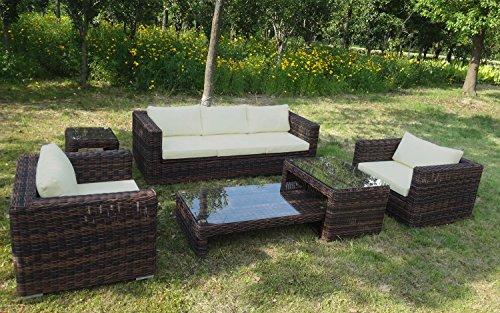 Baidani Rundrattan Garten Lounge Passion Select integrierter Stauraum - Braun meliert (Creme)