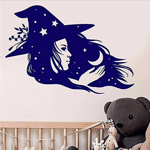 Wzxhn Magische Hexe Zauberin Crescent Stars Vinyl Wandaufkleber Aufkleber Wohnkultur Schlafzimmer Diy Kunst Wandbild Tapete 57 * 83 Cm -