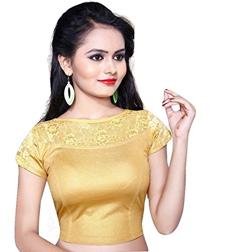 Pdezaart Women's Golden Stretchable Designer Shimmer Stitched Readymade Blouse