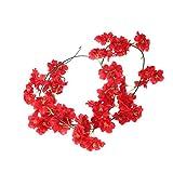 BESTOYARD 2M Blumengirlande, Künstliche Blume Reben schöne Blumen Efeugirlande für Hochzeit Party Dekoration (rot)