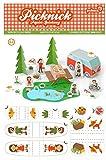 Bastelbogen Picknick, 5 Figuren, 2 Bäume ,22 extra Elemente - Pukcaka DIY Bastelbögen Papier-Karton für Kindergeburtstag als Geschenkidee, Bastelidee für Mädchen