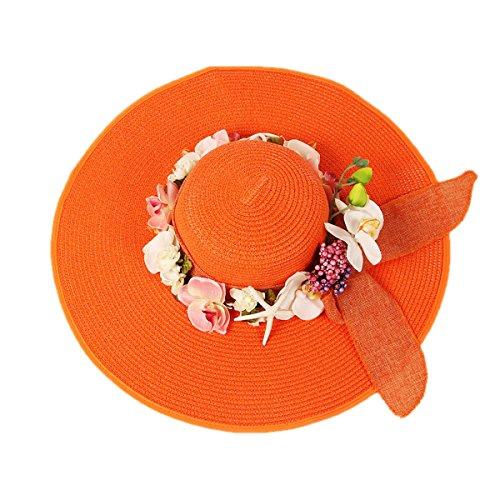 Voyage De Vacances Femmes Mode Coréenne Grand Large Sun Beach Chapeau De Paille Orange