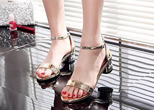 BaiLing Damen Sommer Sandalen / Chunky Ferse Gürtelschnalle Walking / kleine Größe weibliche Schuhe Gold