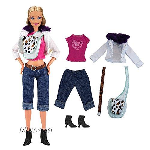 Miunana Set Kleidung Jacke T-Shirt Jeans Hose Schuhe Gürtel Tasche für Barbie Puppen Doll (Barbie Fashionistas Doll Set)
