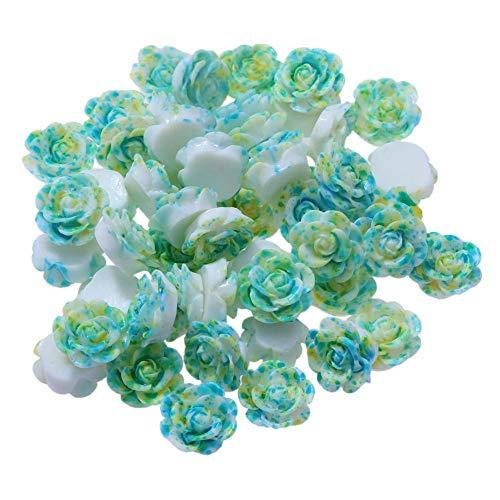 Demiawaking Cristal Perles en Strass Autocollants Accessoires de Bijoux Blanche Bricolage Colliers 50pcs / lot 13mm Résine Rose Fleur Fond Plat Bricolage Décor (Vert)