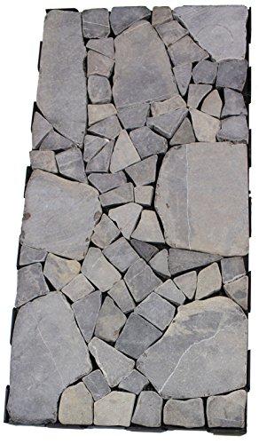 2 Stk. Snap&Go Mosaik grauer Marmor Bodenplatten 60x30cm Terrassenfliesen Balkonfliesen
