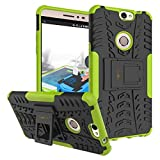 Heartly Coolpad Max A-8 Back Cover Kick Stand Rugged Shockproof Tough Hybrid Armor Dual Layer Bumper Case - Great Green