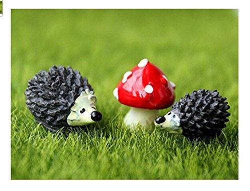 Ndier Gartenfigur Igel und Pilze Set