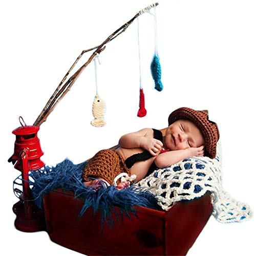 Neugeborenes Baby Mädchen häkeln Kostüm Outfits Fotografie Requisiten Fischer Outfit Hut+Hose+Drei Fische 0-6 Monate (Fischer Und Fisch Kostüm)