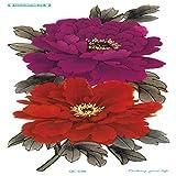 tzxdbh 5 Pezzi Colore Lungo Alta Soluzione Body Art Viola peonia Fiore Rotondo Design temporaneo 20X10 cm 5 Pezzi-