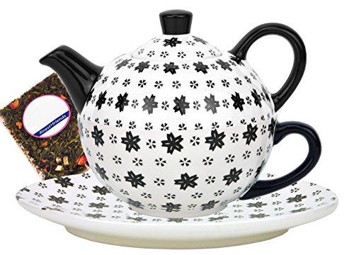 MamboCat Tea for one Keramik Dekor Sternenmosaik schwarz/weiß - Jameson & Tailor 7689 + Teeprobe (Tee-set Schwarz Und Weiß)