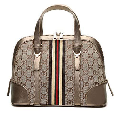 2018 Herbst neue Shell-Tasche Damen Handtasche Vintage-Canvas-Tasche europäischen und amerikanischen Stil Druck Tasche Schulter Umhängetasche (Gestreifter Golddraht, 25cm * 9cm * 16cm)