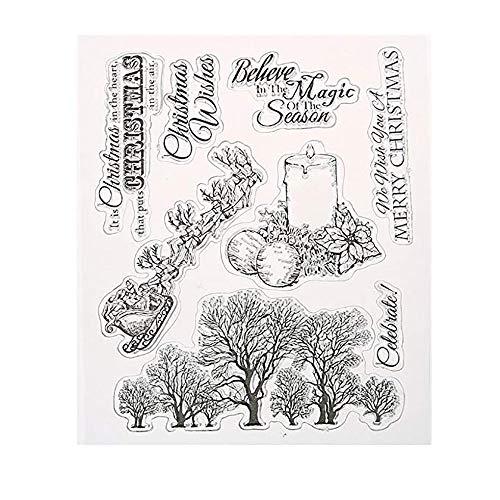 Prevently Weihnachten Stempel Siegel,DIY Silikon Klar Stempel Blatt Scrapbooking Album Foto DIY Weihnachten Valentinstag Thanksgiving Geschenke -