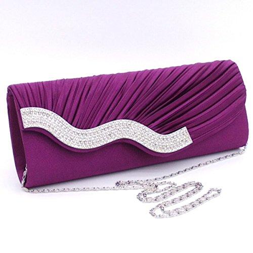Donne Strass A Pieghe Pochette Sacchetto Di Sera Borsa A Tracolla Multicolore Purple