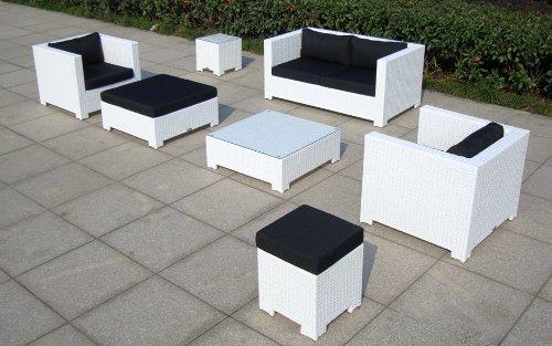 Baidani Gartenmöbel-Sets 10c00034 Designer Lounge Sunrise, 2-er Sofa, 2 Sessel, 2 Hocker, 1 Couchtisch, Beistelltisch mit Glasplatte, weiß - 4