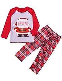 FRAUIT Familiares Ropa de Dormir Traje a Juego de Navidad Mujer Hombre Bebé Niño Niña de Pijamas Dibujos Animados de Santa Claus Ropa + Pantalones a Cuadros