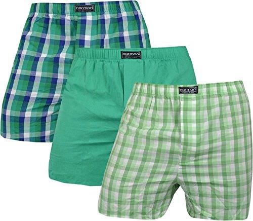 normani Herren Web Boxershorts aus reiner Baumwolle im 3er Pack Farbe Grün Größe L