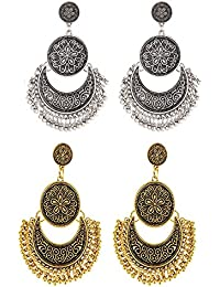 Crunchy Fashion The Tribal Muse Collection Oxidized Silver Trendy Stylish Fancy Party Wear Jewellery Dangle &...