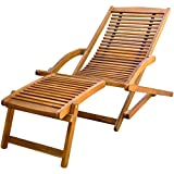 vidaXL Holzliege Sonnenliege Liegestuhl Gartenliege Deckchair + Fußstütze Akazie