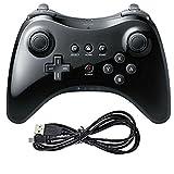YOZOOE Controlador de Juego de Joystick inalámbrico analógico Dual para Nintendo Wii U Pro Black Accesorios para Ordenador Juego Joystick