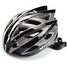 V Bike - Casco v bike mtb 19 ventilaciones carbono in mould, talla l (58-61cm), color blanco / plata / negro