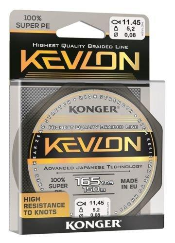 Konger Geflochtene Schnur KEVLON Black 4-Fach Braided Line Angelschnur 150m 0,06-0,20mm (0,07€/m) (0,08mm)