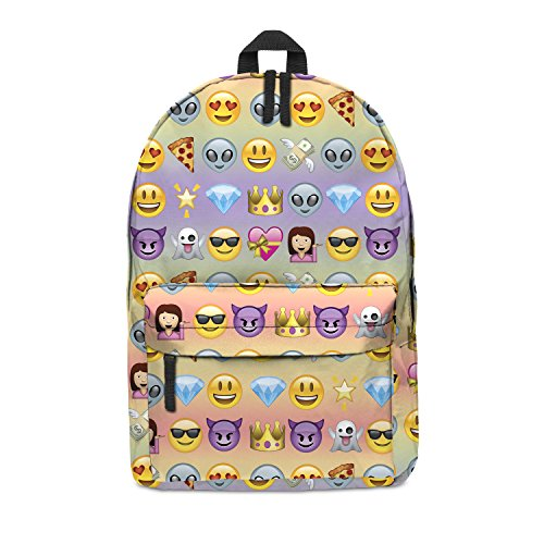 Imagen de fringoo   escolar unisex estampada, equipaje de cabina/gimnasio multicolor emoji rainbow h42 x l31 x w21 cm