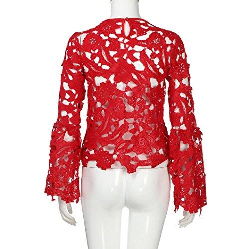 Oyedens Moda Le Donne Di Pizzo Lungo Razzo Manica Maglietta Casual Camicetta Hollow Al Massimo T-Shirt Donne Camicetta Rosso