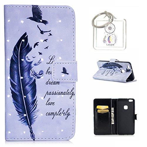 Preisvergleich Produktbild für Huawei P10 Lite (5,2 Zoll) Hülle, Retro 3D Muster PU Leder Hülle Wallet Case Folio Schutzhülle in mit Standfunktion Karteneinschub und Etui Flip Case Schutzhüllen +Schlüsselanhänger (P) (16)