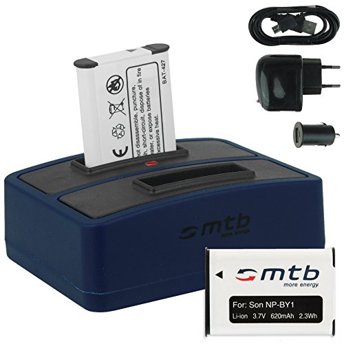 2x Akku + Dual-Ladegerät (Netz+Kfz+USB) für NP-BY1 NPBY1 // Sony HD Action Cam Mini AZ1 mit Wi-Fi / HDR-AZ1 (KIT), HDR-AZ1VR
