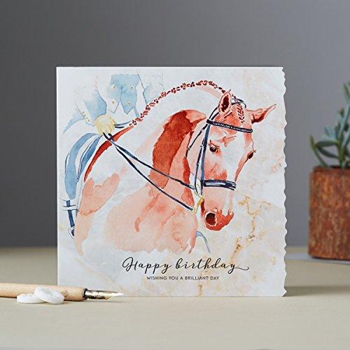 Deckled Edge Pferde Karte Männer Frauen Geburtstag Grußkarte Reiten Dressur 15x15cm -